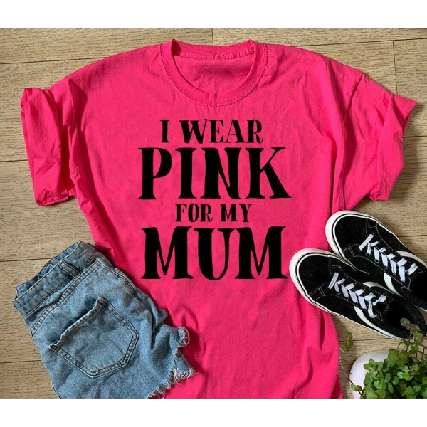 I Wear Pink For My Mum Sports T-shirt Or Vest - Run For Life Sports Top | Sports Tech Printing