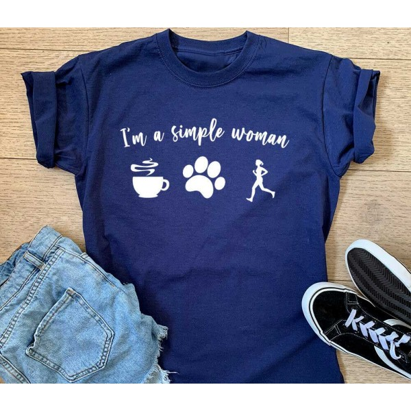 I'm A Simple Woman - Coffee Dogs Running Sports T-shirt Or Vest - Funny Gift Top | Sports Tech Printing