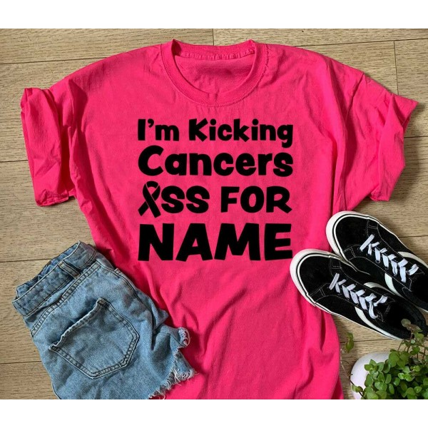 I'm Kicking Cancer's Ass For Custom Name Sports T-shirt Or Vest - Race For Life Charity Top   Sports Tech Printing