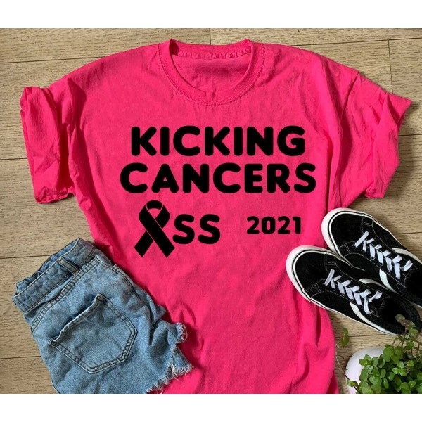 Kicking Cancers Ass Sports T-shirt Or Vest - 2021 Race For Life Charity Top   Sports Tech Printing