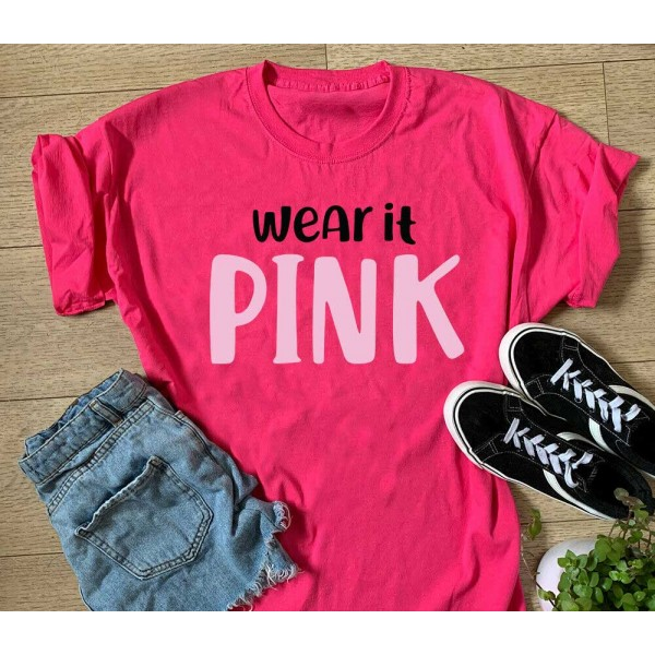 Wear It Pink Sports T-shirt Or Vest - Cancer Charity Sports Top   Sports Tech Printing